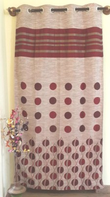 Trendy Home Jacquard Red Geometric Eyelet Door Curtain