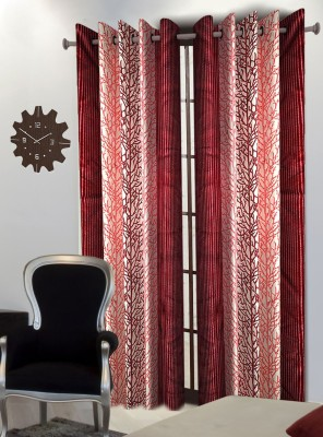 Home Blossoms Polyester Maroon Floral Eyelet Long Door Curtain
