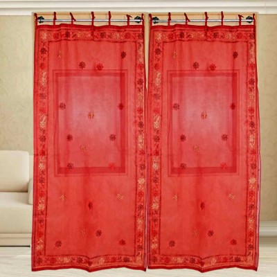 sriam Cotton Red Printed Curtain Window Curtain
