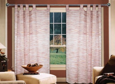 Home Creations Polyester Red Floral Eyelet Door Curtain