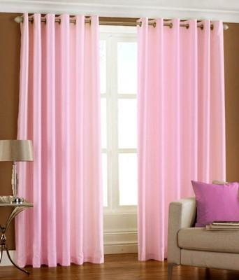 sajaawat Polyester baby pink Plain Eyelet Long Door Curtain