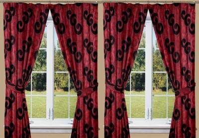 Threadmix Polyester Maroon, Black Abstract Eyelet Window Curtain