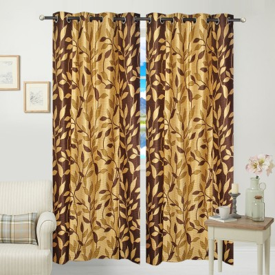 Jars Collections Polyester Brown Floral Eyelet Door Curtain