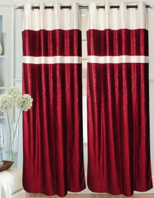 Hargunz Polyester Maroon Geometric Eyelet Door Curtain