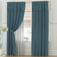 solaj Cotton Teal Solid Rod pocket Door Curtain(223 cm in Height, Single Curtain)