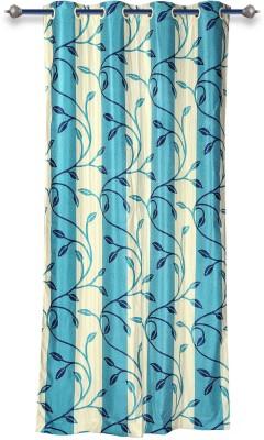 Mahamantra Polyester Light Blue Printed Eyelet Door Curtain
