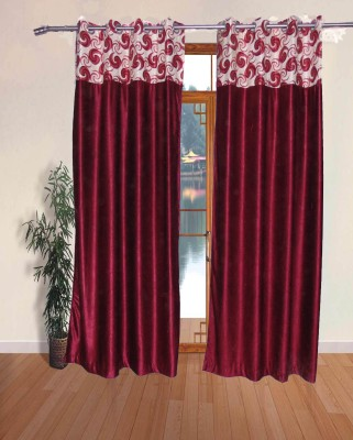 Fresh From Loom Polyester Mehroon Abstract Eyelet Door Curtain