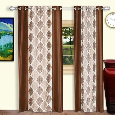 Dreaming Cotton Polyester Brown Motif Eyelet Door Curtain