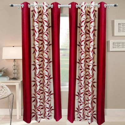 Qualityfab Polyester Red Floral Eyelet Window Curtain