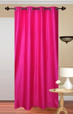 Shiv Shankar Handloom Polyester Dark pink Plain Eyelet Door Curtain