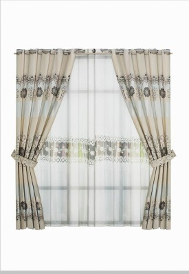 Zeneeze Decor Satin Golden Floral Eyelet Window & Door Curtain