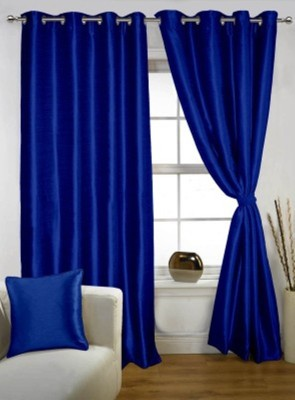 RedHot Polyester Blue Plain Eyelet Door Curtain