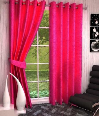 shivamconcepts Polyester Pink Plain Eyelet Door Curtain