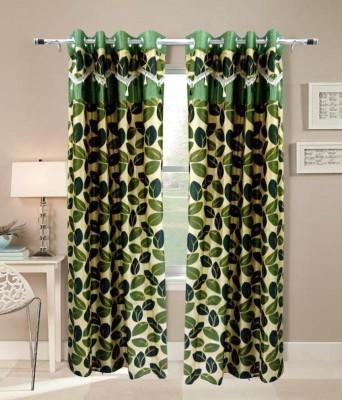 Jai Ganga Polyester Green Floral Curtain Long Door Curtain