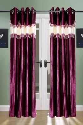 The Handloom Store Polyester Purple Self Design, Plain, Solid Eyelet Door Curtain