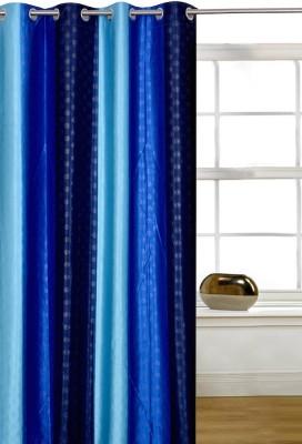 Shopcrats Polyester Blue Polka Rod pocket Window & Door Curtain