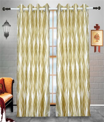 J&J Polyester Gold, White Printed Eyelet Window & Door Curtain