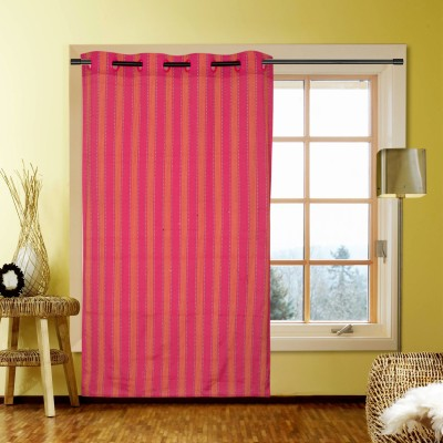 Kings Polycotton Pink Striped Eyelet Window Curtain