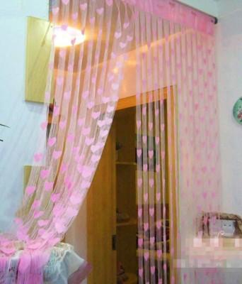 Homesazz Net Light Pink Self Design Eyelet Door Curtain