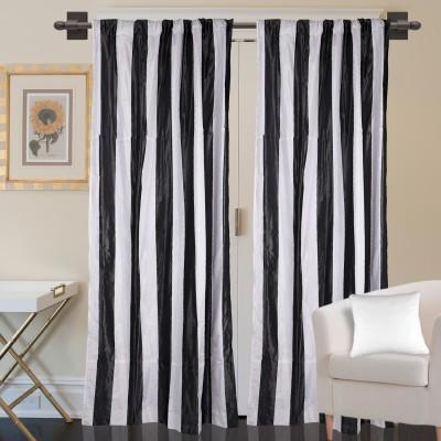 Marmitte Polyester Black Striped Rod pocket Door Curtain
