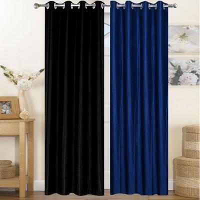 Thiwas Polyester Black, Blue Plain Eyelet Door Curtain
