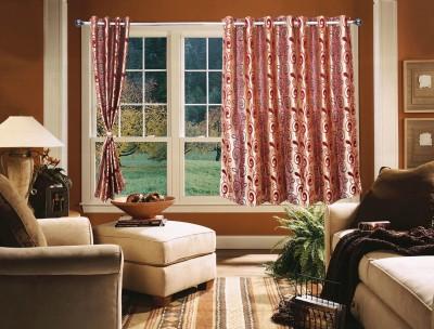 OsianArts Pink Floral Eyelet Window Curtain