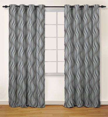 Oro Decor Polyester Lavender Abstract Eyelet Window Curtain