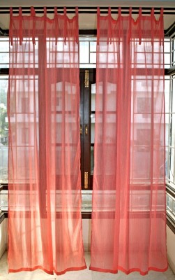Sriam Cotton Pink Self Design Eyelet Door Curtain