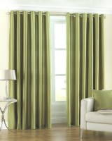 Homefab India Polyester Green Solid Eyelet Door Curtain(212 cm in Height, Pack of 2)