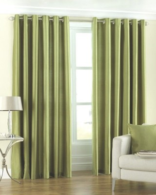 Homefab India Polyester Green Solid Eyelet Long Door Curtain
