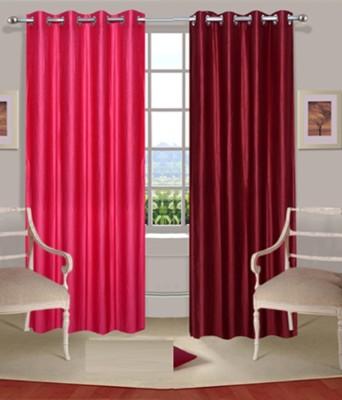Sanaya Polyester Red, Orange Solid Eyelet Door Curtain