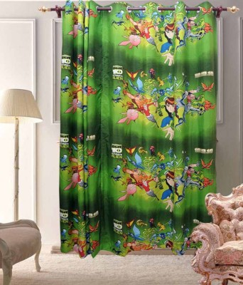 ComfortHome Polyester Multicolor Printed Ring Rod Long Door Curtain