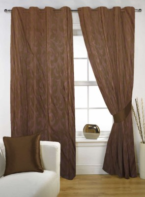 Kings Polycotton Brown Solid Tab Top Door Curtain