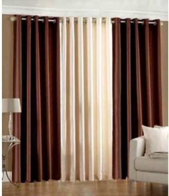 Home And Craft Polyester Brown Floral Eyelet Door Curtain