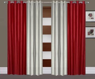 Thiwas Polyester Maroon, Grey Plain Eyelet Long Door Curtain