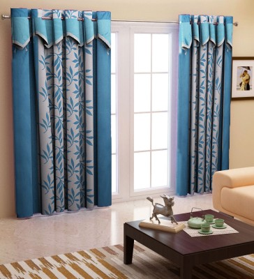 Home Candy Polyester Blue Geometric Eyelet Door Curtain