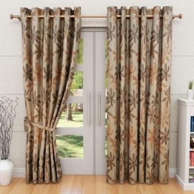 G M HomeFashion Polyester Multicolor Solid Eyelet Door Curtain