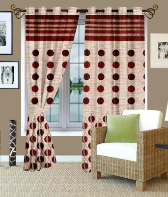 STC Jacquard Maroon Self Design Eyelet Long Door Curtain