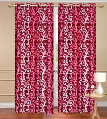 Daddyhomes Polyester Red Solid Curtain Door Curtain