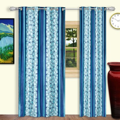 Dreaming Cotton Polyester Blue Abstract Eyelet Door Curtain