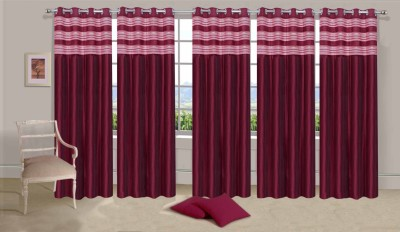 Ville Style Polyester Maroon Solid Eyelet Door Curtain
