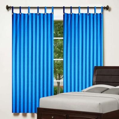 TG Shoppers Cotton Blue, Dark Blue Striped Curtain Window Curtain