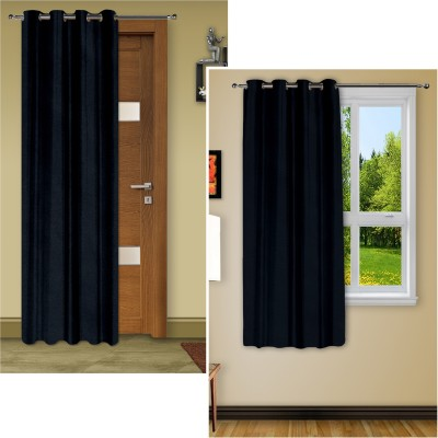 Story @ Home Silk Black Plain Eyelet Window Curtain