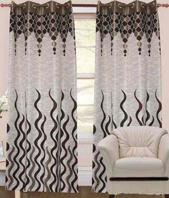 STC Jacquard Grey Self Design Eyelet Door Curtain