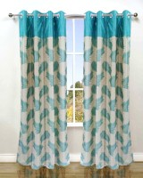 Homefab India Polyester Blue Floral Eyelet Window & Door Curtain(182 cm in Height, Pack of 2)