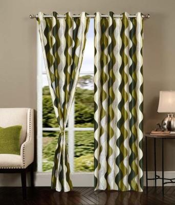 Sanaya Polyester Green Printed Ring Rod Window Curtain