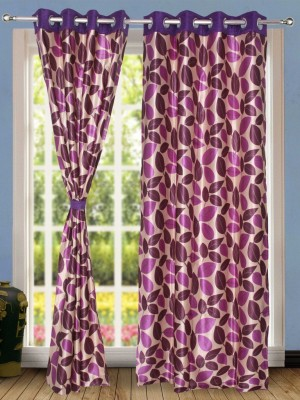 Wind Drape Polyester Magenta Floral Ring Rod Door Curtain
