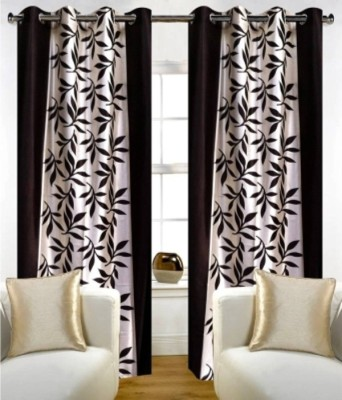 RedHot Polyester Brown Floral Eyelet Door Curtain