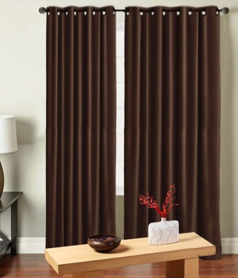 Saral Home Polyester Brown Solid Eyelet Door Curtain
