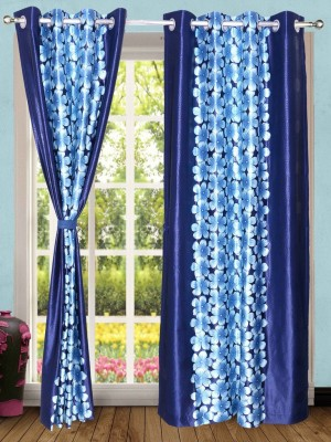 Wind Drape Polyester Blue Floral Ring Rod Door Curtain